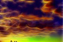 Zjawiska na niebie / Zorze, błyskawice i rózne kształty chmur