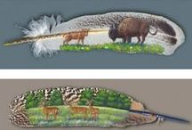 Obrazy malowane na piórach / Kolorowe obrazki na piórach