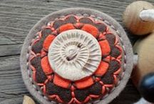 Brooch, button - My work :) / Brooch of felt with a button