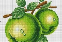 fruits and vegetables / cross - stitch