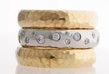 Stacked..Stackable Rings / We love to stack and we love to hammer! The planished or hammered texture on metal can completely change the personality of a piece of jewelry.  Hammered Stackable Rings by J Briggs and Co feel wonderful on your finger~ and wear beautifully!