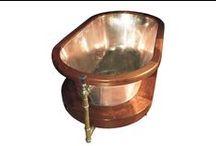 Interior Design Arts / Copper bathtubs, toilets, copper home decor accessories