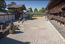 Karesansui / Japanese Rock Gardens, or Zen Gardens.  And maybe some ideas that are related, but don't necessarily meet the purest definitions.