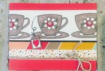 CTMH Coffee, Tea, Food & Drinks Cards Inspiration / An array of handmade cards that feature coffee, tea, chocolate, wine, donuts, cake cupcakes or other foods on them that Inspire me to re-create because it is all yummy and have been created using Close to My heart Products - stamps, papers accessories, finishing touches & techniques.