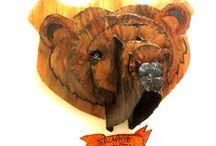 Jacht-trofeen van karton / 3D Dierenkoppen van karton of hout, leuk voor boven de open haard