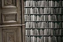 Bookcase Wallpaper by Koziel / Exceptional trompe-l'oeil wallpaper provides a wonderful illusion of a bookcase full of precious old books...