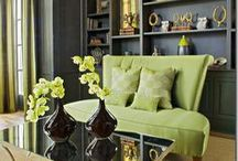 COLOR: Green with Envy Interiors / Adding a bright shade of green brightens up any dark room in the home. Use a pop of color when you want to create a focal point. As seen in living rooms, kitchens, furniture, and accent pieces