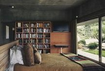 5.PINTERIOR-Livable Spaces- wood, sun, trees kind of minimal / the ever popular combo of wood ,concrete and glass, with lots of sunlight and a  green view. Minimal  furnishing , yet not too spacious so as to create a warm, homely, livable environment. made cozier with books