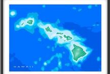 Hawaii Map Prints / Maps As Art loves Hawaii! Such a beautiful place deserves it's own Pinterest board! Hawaii, Maui, Oahu, Kauai, Molokai, Lanai, Niihau and Kahoolawe - some of the most amazing islands in the world.