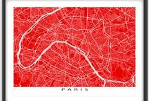 France Map Prints / Paris Marseille Nice Lyon Bordeaux Toulouse Nantes ... France has so many places to create map art prints from.