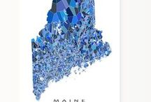 Blue Mosaic State Maps / An exclusive Maps As Art design - making a map from major state roads and hundreds of little blue shapes - like a beautiful mosaic.
