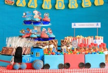 Thomas Train Party / Thomas train themed candy buffet table and party decorations
