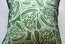 Green Cushions / A selection of my textiles designs and cushions that are available in a green colourway from my website http://www.katzdesignertextiles.com.au/cushions/green_cushions