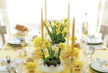 Spring Has Sprung / Spring decorations for the home. Daffodil yellows, raspberry & pastel pinks and grassy greens