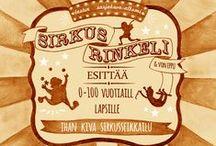 S i r k u s    R i n k e l i / Lasten sarjakuva-albumi Sirkus Rinkelin hahmoja,  kuvituksia ja luonnoksia.