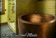 Custom Copper Bathtubs / Custom made copper bathtubs hand hammered as free standing and drop-in. #mycustommade