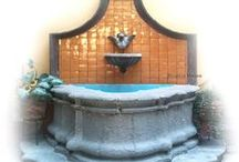 Water Fountains / Water fountains for table, garden, patio and veranda. Custom made in wood, culture stone and cantera.