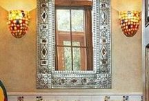 Custom Mirrors / Custom mirror frames made of wood, ceramic tin and iron for foyer wall, living room, bedroom, and bath.