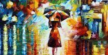 """Leonid Afremov︵‿✎""""Art"""" / Leonid (nato nel 1955)pittore bielorusso.I suoi dipinti spesso raffigurano paesaggi ,città o persone con colori molto vivaci; usa la pittura ad olio con spatola; si è laureato alla scuola d'arte di Vitebsk ,fondata da Chagall nel 1921._________________________________ ...NO PIN LIMITS-REPIN AT WILL!!!"""