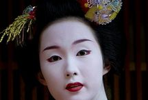 """Geisha 芸者 / Geisha (/ˈɡeɪʃə/; Japanese: [ɡeːʃa]),[1] like all Japanese nouns, has no distinct singular or plural variants. The word consists of two kanji, 芸 (gei) meaning """"art"""" and 者 (sha) meaning """"person"""" or """"doer"""". The most literal translation of geisha into English would be """"artist,"""" """"performing artist,"""" or """"artisan."""" Another name for geisha is geiko (芸子), which is usually used to refer to geisha from western Japan, which includes Kyoto. Apprentice geisha are called maiko. / by Patricia Martin"""