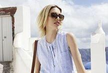 Von der Sonne geküsst… / Einfach mal blau machen...  Entspannte Looks in zarten Blau- und Weißnuancen, gepaart mit leichten Stoffen, feinen Mustern und raffinierten Oberflächen lassen uns träumen von Sonne, Strand und Meer.