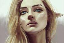 Kobiety elfki twarze