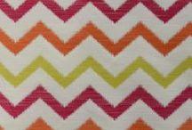 "Chevron / Herringbone / Flame-Stitch / Popular fabric patterns featuring lines that ""zig-zag."""