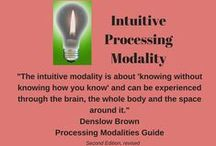 "Intuitive Processing Modality / This board explores organizing strategies for the intuitive processor.  The intuitive modality is about ""knowing without knowing how you know"" (or more accurately without having objective proof or rationale) and can be experienced through the brain, the whole body, and the space around it. Organizing strategies for the intuitive dominant would include paying attention to their gut feeling, and checking on what feels (mind, body, spirit) right for a situation."