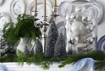 HOLIDAY   Silver Bells / Outfit your winter home with chic silver and stately cobalt hues for an upscale take on traditional holiday style. We love the look of combining vintage accents, mirrored furnishings, and rich tones to create a posh abode with contemporary appeal.