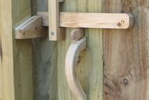 Fence and Gate / fence, beautiful garden gate, gate latch, pine, carved gate handle, side gate