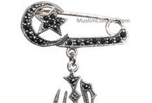 MuslimJewelry.com / All of our Islamic Allah pendants are made from 100%  sterling silver. Some of them are handmade by Muslims. We  currently offer plain sterling silver pendants and others with  CZ (Cubic Zirconium) studs.