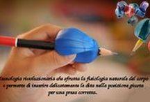 Ausili pediatrici per scrivere e tagliare / Sussidi innovativi che facilitano la scrittura  e migliora le prestazioni dei bambini disgrafici