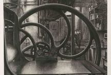 Erik Demazieres / French print maker, born in Morocco in 1948. Lives in Paris. Best known for etchings about libraries, architecture, and for invented architectural compositions.