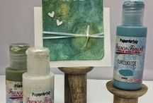 Fresco chalk acrylics / PaperArtsy launched these in 2011. A multi surface chalk paint idea for mixed media and all kinds of crafting. High coverage opaques plus versatile translucent paints which all dry matte.