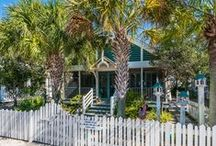 """Cabana Fever - Seaside, FL /  3BR, 2.5BA Reminiscent of the pastel-colored Florida beach cottages of the 1940s, """"Cabana Fever"""" is located three houses down from 30-A, a half-minute walk to the beach pavilion or the Westside pool, and sits directly across from the Truman House (and even played a """"bit-part"""" in that movie). It was the first cottage on Natchez Street and is one of the few one-story cottages in Seaside."""