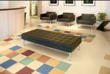 "VCT - Vinyl Composite Tile / Vinyl Composite Tile (VCT) is often selected for its low entry cost and durability. Here we have our favorite VCTs and patterns that ""dress up"" this simple product. 1-800-FLOOR01"