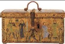 12th Century Enamels and Metalwork / A collection of 12th century enamels on caskets, coffins, book covers and jewellery.