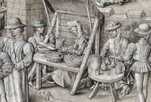 Medieval Markets & Merchants / Images of market stalls, trestles, baskets and more