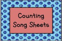 "Counting Song Sheets / These song sheets teach number identification, number order and one-to-one counting correspondence.  Use them to sing ""One little, two little, three little ____.""  / by KinderLit"