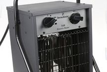 Electric Industrial Heaters / The Electic Industrial Heaters come in two styles each producing 17,000 BTU. These professional blow heaters have a durable stainles steel heating element and are thermostatically controlled.