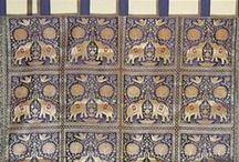 Brocade Gold Curtains / Woven Brocade fabric curtain panels with Elephants & Peacocks, from India