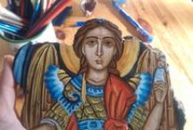 Angelicon / Hand -painted Byzantine icons, sacred art of Greece made by -Eka and Eri- in our family workshop- in Crete. For more you may visit: www.angelicon.gr