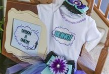 Superhero Baby Shower / Girl purple and teal baby superhero baby shower invites, ideas and party printables