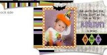 Witches Brew Collection / Halloween party whimsical witch theme in orange, purple and lime green using polka dots and harlequin patterns