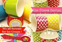 Ice Cream Party Ideas / Paper Ice Cream Cups in colorful poke dots.