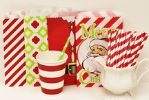 Christmas Party Ideas / Christmas holiday party ideas and fun colorful party supplies for entertaining family and friends. Paper Drinking Straws, Party Favor Bags, Silverware Bags, Wooden Cutlery, Cupcake and Pie Boxes, Food Trays, Cupcake and Baking Supplies