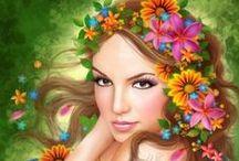 FLOWERS in her HAIR / Girls w/flowers in their hair / by Barbara Hallinan