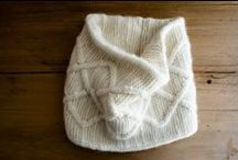 knit: scarf, mittens, hat