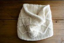 knit: scarf, mittens, hat