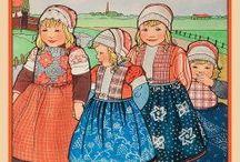Rie Cramer klederdrachten / Ik ben een groot bewonderaar van Rie Cramer. Op dit bord beperk ik mij tot de klederdrachten, maar ook haar illustraties bij de sprookjes van Nienke van Hichtum zijn beeldschoon!